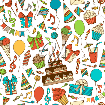 Hand-drawn gift boxes, garlands and balloons, music notes, party blowouts, cakes and candies, birthday pie, party hats on white background. Vector seamless pattern.