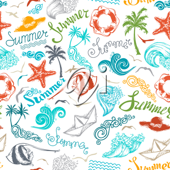 Set of summer and travel symbols and hand-written summer lettering on white background. Boundless texture can be used for web page backgrounds, wallpapers, wrapping papers or invitations.