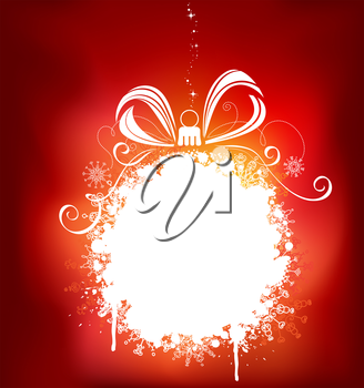 Grunge background with Christmas ball of snowflakes and stains. There is copy space for your text on white area.