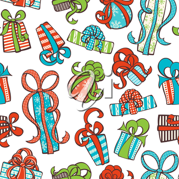 Various hand-drawn gifts on white background. Boundless texture can be used for web page backgrounds, wallpapers, wrapping papers, invitation, congratulations and festive designs.