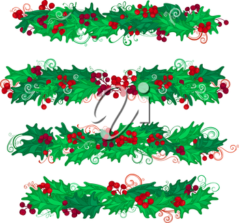 Christmas page decorations and dividers isolated on white background.