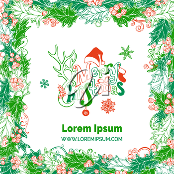 Vector holly berries background. Hand-drawn lettering. There is place for your text on white background in the center.