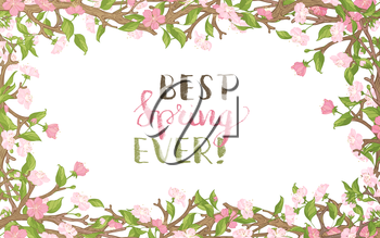 Spring flowers on tree. Handwritten grunge brush lettering. Vector card template. You can place your text in the center on white background.