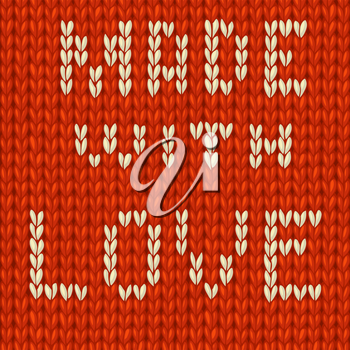 Light knitted text on red background. Vector illustration.