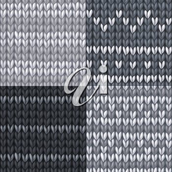 Seamless monochrome knitted patterns. High detailed stitches. Boundless background can be used for web page backgrounds, wallpapers, wrapping papers and invitations.