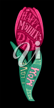 Vector typographical card with spring pink tulip flower on black background. Hand-drawn lettering design element for cards, invitations and posters.