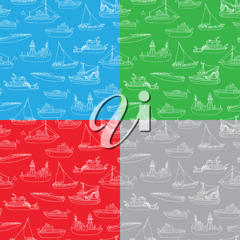 Lightship, fireboat, fishing trawler, speedboat, sailboat and motorboat. White doodles cartoon vehicles on coloured backgrounds.