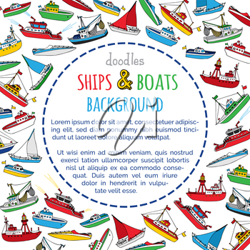 Lightship, fireboat, fishing trawler, speedboat, sailboat and motorboat. Doodles nautical vessels on white background. There is place for your text in the center.