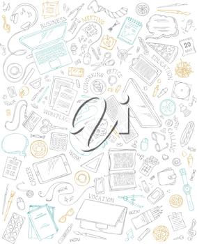 70+ items. Top view. Doodles design elements for work and education. Stationery and gadgets, food and drinks, plants, laptop, mobile.