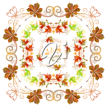 Bright frames, corners, page decorations and dividers, swirls and flourishes isolated on white background. Colourful maple and chestnut leaves.