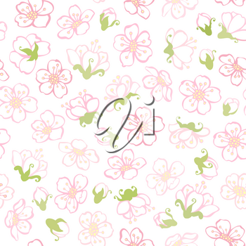 Boundless background of apple flowers.