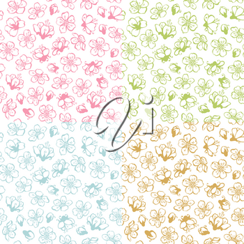 Coloured contours of flowers from fruit trees on white background. Duotone boundless backgrounds.