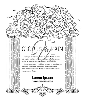 Linear hand-drawn black cloud and rain on white background. Vintage decoration. Flying birds. There is copy space for text. Colouring book for adults template.