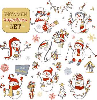 Snowman is skiing. Snowmen with candy, gifts, baubles, Christmas sock, birds or garland. Christmas tree and birdhouse. Music notes and snowflakes. Red, grey and gold colors.