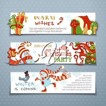 Cartoon snowmen and gift boxes, Christmas tree with baubles, candy canes, snowflakes, bird and stars. Winter is coming! Copy space for your text.