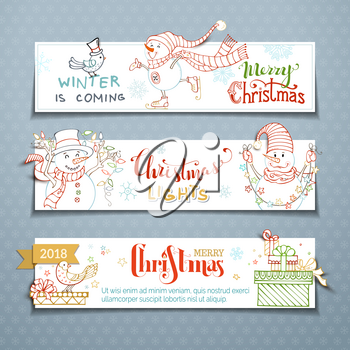 Outlined Christmas lights and gifts, bird, skates, snowflakes and stars. Copy space for your text.