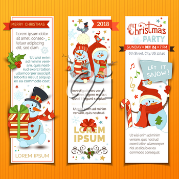 Cartoon Christmas baubles, candy cane, birds and gift box, snowdrift, snowflakes and stars. There is copy space for your text.