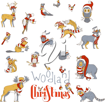 Vector set of forest animals dressed in Santa hat and scarf. Moose, bear, fox, wolf, deer, owl, hare, squirrel, raccoon, hedgehog and birds. Red, gold and gray colours.