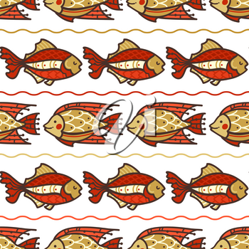 Red and gold fish swim on white background. Boundless background can be used for web page backgrounds, wallpapers, wrapping papers and invitations.