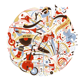 Musical instruments shop assortment flat vector illustration. Jazz festival advertisement. Electric guitar, grand piano isolated design elements. Retro music record, microphone, violin doodle drawings
