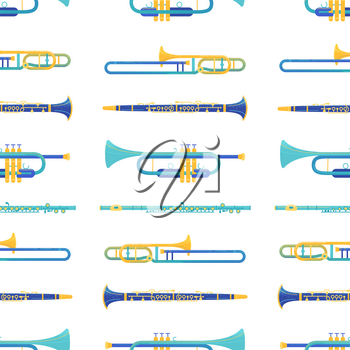 Brass and windwood instruments vector seamless pattern. Clarinet, flute, trombone, trumpet texture. Classical orchestra music instruments. Musical performance, jazz festival, symphony background