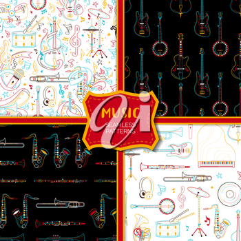 Musical instruments hand drawn outline seamless pattern set. Saxophone, guitar, microphone line art texture. Colored contour brass, strumming, percussion instruments on black, white background