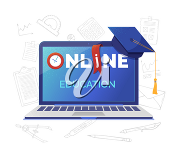 Online academic education banner flat vector template. Open laptop with typography on screen. Elearning, Internet courses, university and school distant program. Graduation cap illustration