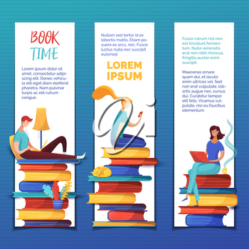 Students reading ebooks bookmarks templates set. Digital library archive, ereading web banners pack with text space. Readers sitting on books piles cartoon characters for online courses presentation