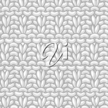 Hand-knitted boundless background. High detailed knitting fabric material. Hand-drawn white cotton knitwear.