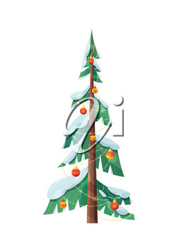 Snow-capped Christmas tree flat vector illustration. Fir tree decorated with sparkling garlands, baubles, balls isolated on white background. Winter holiday celebration greeting card design element