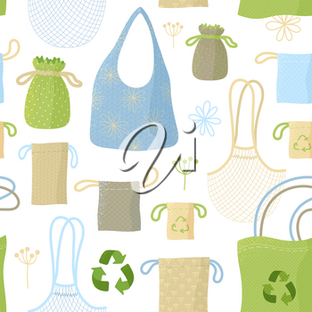 Recyclable bags and sacks, kitchen items flat vector seamless pattern. Eco packs, fabric things. Reusable packaging and accessories creative textile, wrapping paper, wallpaper design