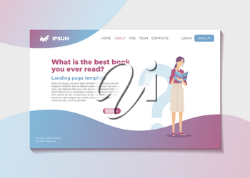 What is the best book you ever read? Literature survey or literature review landing page template. Web banner with young smiling woman reading book vector illustration. Literary club or magazine blog