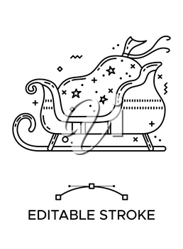 Santa sleigh with gift sack linear icon. Thick line pictogram. Isolated outline vector illustration. Duotone contour symbol. Editable stroke. Pixel perfect