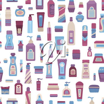 Plastic cosmetics bottle, dispenser, container, jar, tube seamless pattern. Cartoon shampoo, cream, lotion, scrub, perfume, soap, moisturizer collection. Vector flat texture on white, fabric flap