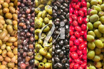 Close-Up Of Different Types Of Greek Olives