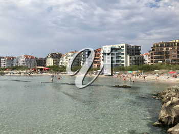 Pomorie, Bulgaria - July 05, 2018: People at the beach.