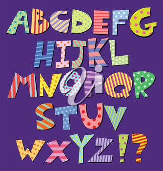 Colorful patterns comic alphabet