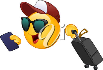 Hurrying Air traveler emoticon holding his passport and dragging a suitcase
