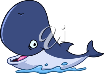 Happy cartoon whale