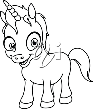 Outlined smiling unicorn. Vector line art illustration coloring page.