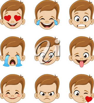 Emoji face expressions collection of a young boy