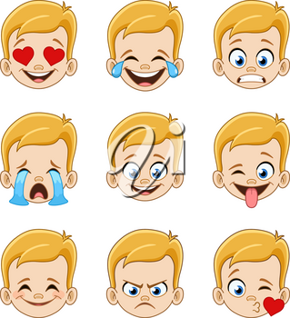 Emoji face expressions collection of a young blond boy with blue eyes
