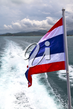 asia myanmar kho samui bay isle waving flag    in thailand and south china sea
