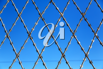 abstract razor wire in the clear sky like background texture