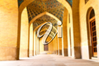 blurred in iran shiraz the corridor passage old mosque and wall arch for islm religion