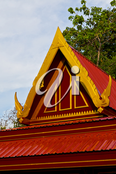 bangkok in the temple  thailand abstract cross colors roof wat  palaces   asia sky   and  colors