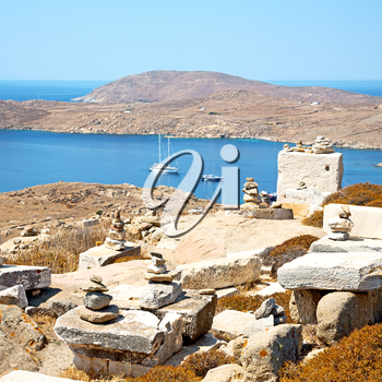 in delos         greece the historycal acropolis and         old ruin site