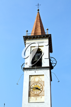 travedona monate  old abstract in  italy   the   wall  and church tower bell sunny day