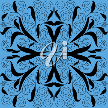 Abstract floral hand drawing vector symmetrical pattern