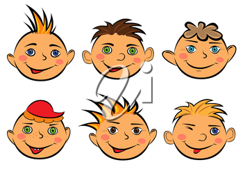 Set with six funny faces of smiling boys on white background, hand drawing cartoon vector illustration